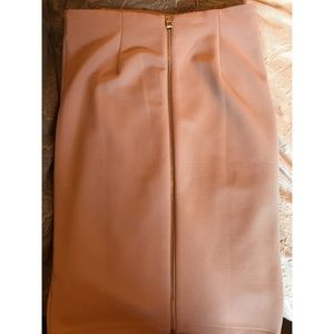 Pale pink pencil skirt with gold zipper back
